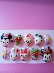 ピンクホイル・マウス&クマ.ツムツム.クリスマス.ショート.hina
