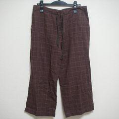 メンズ チェック柄 パンツ W80 薄手 ハンパ丈 茶系