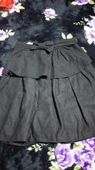 一度使用〜黒ペプラム2way膝丈スカート61