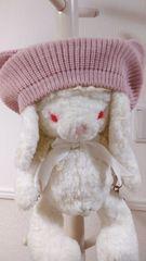 ねこみみニットベレー帽 淡ピンク