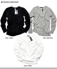 サーマル長袖Tシャツ/743サロン白黒グレーSMXLロンTメンズノンノEXILE三代目ジェネ