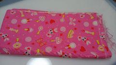 可愛いピンクのうさぎとハート、リボン柄★生地★未使用