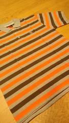 elementカノコボーダーポロシャツ グレーオレンジ ロゴ刺繍 サイズXXL �B