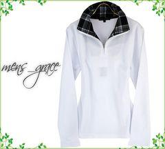 新品 長袖ポロシャツ 襟チェック ハーフジップ ホワイト M