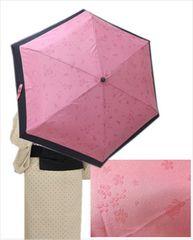 晴雨兼用桜&うさぎ柄が浮き出る折り畳み日傘ピンク(6本骨)