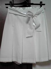 プリーツリボンツキスカートホワイト美品