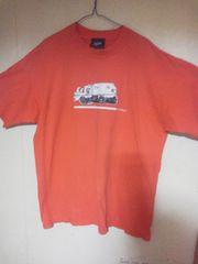 オレンジに清掃車のプリントの半袖Tシャツ/XL/美品♪