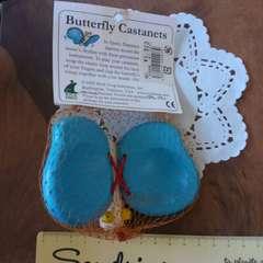 新品♪PLAZA購入♪木製玩具♪バタフライ型カスタネット♪蝶々