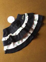 新品【Dolly Ribbon】裏起毛あったか冬スカート●黒●90