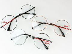 アンティーク ダテ眼鏡 丸型 シルバー ユニセックス 直径48mm