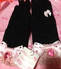 新品 Angelic Pretty キラキラウール手袋 黒 ピンク