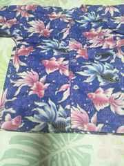 ☆新品=紫×金魚柄ダボシャツ80