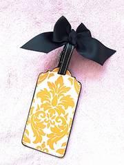 トラベルラベルダマスクアラベスク黄色黒リボン名札
