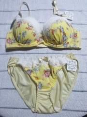 新品ブラショーツセット(C75・M)なちゅ盛り黄色×花柄・白レース
