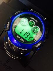 【輸入時計】爽やかなブルー★多機能メンズデジタル腕時計Ohsen