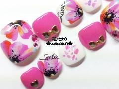 ★MIKAKO★ピンクflowerシェルハートフルペディ(639)