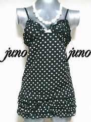 JSGハート柄5段フリル胸パッドカップリボン付キャミワンピ◆新品タグ付◆黒白ブラック