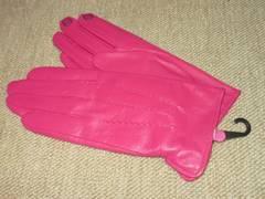 未使用☆タッチパネル対応*本革レザー手袋*上品ピンク