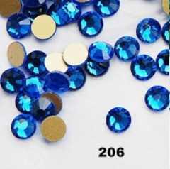 ネイルスワロのよう高級ガラスストーン2.1�o100粒ブルー青
