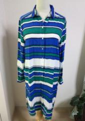 H&M☆ブルーホワイトグリーンストライプ☆ロングシャツ☆カーデ