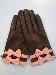 MILK☆革手袋☆黒×ピンク
