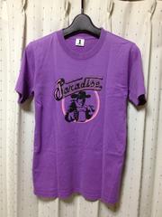 ワールドワイドラブ プリント半袖Tシャツ Sサイズ1 細身タイト 紫色 日本製 ロック