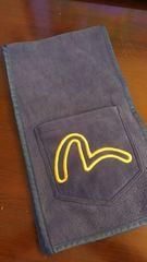 EVISエビスジーンズ/ダブルポケットフリースマフラー/紺×黄色