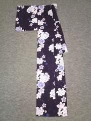 濃紫にグラデーション紫花浴衣ユカタ(F)美品