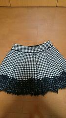 美品 ロイスクレヨン 白黒ツイードレースプリーツスカート