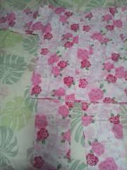 ☆処分品白×薔薇小桜レースラメ入柄ダボシャツ&股引130