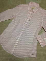 新品未使用 ホリスター ピンクストライプ フリルシャツ