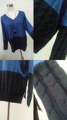 ■新品紺×ブラック★裾&腕鍵編み上げ暖かニットワンピ即決送料無料
