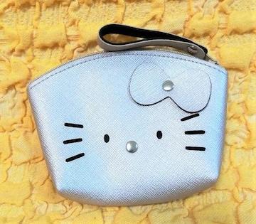 モバオクで買える「キティ★合皮ポーチ★小銭入れ★アーチ型★シルバー★」の画像です。価格は500円になります。