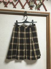 JAYRO 膝丈タータンチェックプリーツスカート茶色ブラウンS