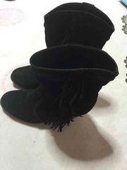 フリンジブーツ ショートブーツ☆黒色 Mサイズ