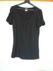 LD prime 黒×白水玉 半袖 シンプル カットソー M インナー可 N2m