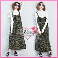 L2L3L*大きいサイズ*ワッペン&裾スリット迷彩デニム調ジャンパースカート*迷彩