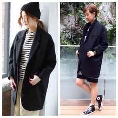 2015AWジャーナルスタンダード☆ビッグチェスターコート黒S