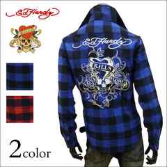 Ed Hardy ラブキル刺繍チェックネルシャツ ブルー L[63kh01]