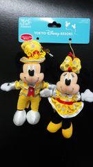 ディズニー TDL 30周年ハピネス 金コスチューム ぬいぐるみストラップ ミッキー ミニー