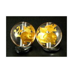 ☆神獣ヒキュウ右向き☆14mm金色水晶ビーズ1個