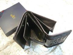 送料無料ラルフローレン  ハラコ黒折財布