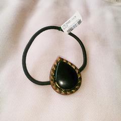インド製*黒色雫型モチーフヘアゴム*新品未使用
