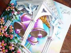 処分大特価◆アメリカのヴィンテージ カード ベルと白い鳥[GR#63]
