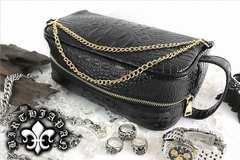 ヤクザチンピラオラオラ系/蛇パイソンワニ/クロコ革調/型押しセカンドバッグ鞄15015黒