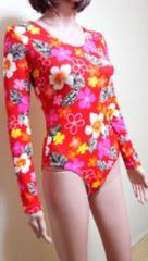 真っ赤な花柄のクロッチ付き長袖レオタード994☆3点で即落☆