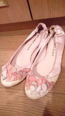 マルイ購入*23�pぺたんこ靴*ペタンコパンプス*ピンクサテン冬に*
