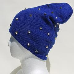帽子♪トゲトゲスタッズ付 ニットキャップ ニット帽*ブルー*