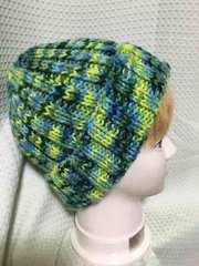 手編み ライムポップ ニット帽