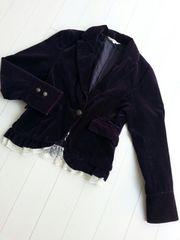 【即決】ベロア素材の2weyジャケット☆個性的デザイン★パープル♪M